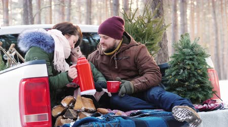 tradição : A young family of three people is drinking hot tea from a flask, sitting in the back of a car near the New Year tree in the winter forest