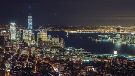 establishment : Manhattan aerial panorama cityscape skyline. Timelapse. Zoom out shot