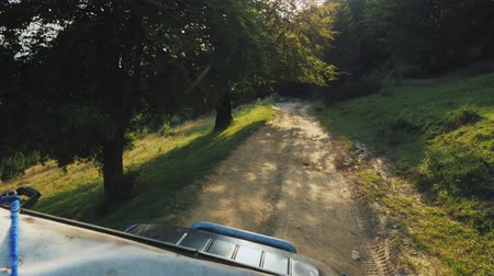 крайняя местности : Riding an off-road vehicle on an extremely bad road through the forest. The setting sun shines through the branches of trees. Pov video