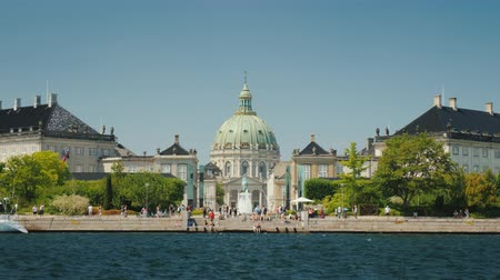 lutheran : View from the sea to the Frederik Church, also known as the Marble Church is one of the popular attractions of Copenhagen Stock Footage