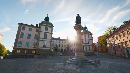 knightly : Jarl Birger Square, with a monument to the founder of Stockholm and the Palace of Wrangel. Steadicam shot Stock Footage