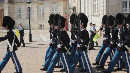 muhterem : Copenhagen, Denmark, July 2018: The honorary armed guard is changing the guard to the palace in Copenhagen Stok Video