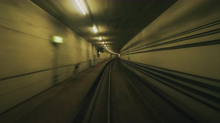 copenhagen : Pov view of the square subway tunnel. Movement in a circular tunnel creates a hypnotic effect