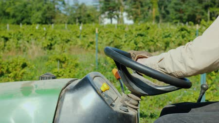 рукоятка : Farmers hands on the wheel of a tractor, rides along the vineyard