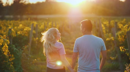 multirracial : Rear view: Happy multiethnic couple walking in the vineyard. Wine tasting and tourism concept