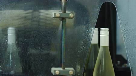 cleaning products : Bottles of wine moving along the conveyor to the car, where they are washed with water Stock Footage