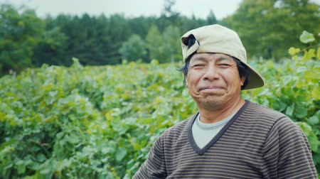göçmen : Portrait of a smiling mexican farmer. Standing on the field, looking at the camera