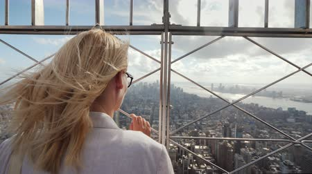 фехтование : The woman looks at the metropolis below. It stands at the fence, rear view. In the distance, visible skyscrapers of New York