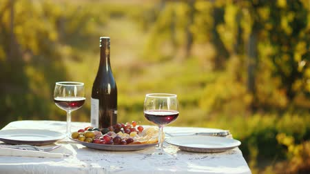 obrus : A bottle of wine with snacks is on the table. In the background, blurred outlines of the vineyard. Place for romantic dinner