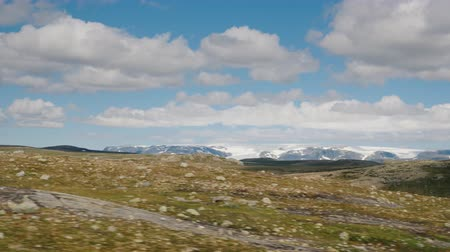 hordaland : Landscape of the Hardangervidda national park in Norway. Norways harsh nature Stock Footage