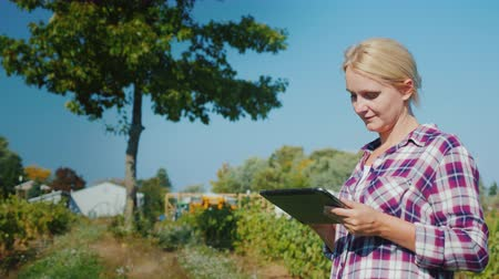 sera : A woman farmer uses a tablet, in the background are greenhouses and a vineyard