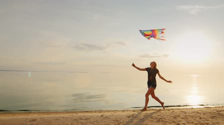 коршун : Carefree young woman running on the beach with a kite. Against the backdrop of a beautiful sunset sky Стоковые видеозаписи