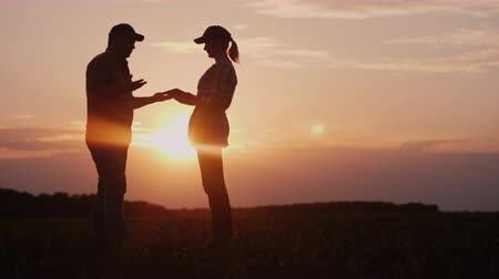 contributo : Two successful farmers - a man and a woman communicate in the field at sunset. Organic farming concept