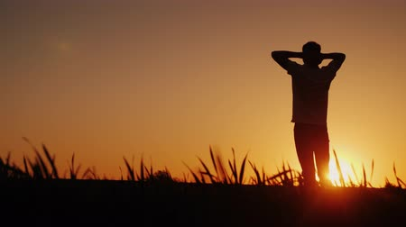 from behind : A teenager admires the sunset. Standing in the field, he puts his hands behind the back of his neck, the back view Stock Footage
