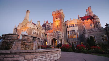 beautifully : Toronto, Canada, October, 2017: Casa Loma Castle, one of Torontos most popular attractions. Beautifully light in the evening