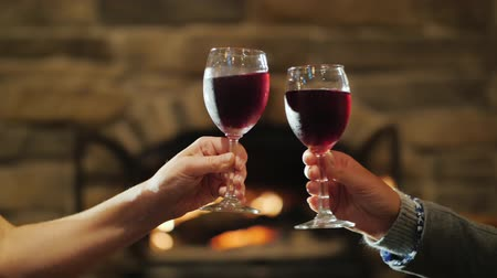 kırmızı şarap : Drink wine near the fireplace. Two female hands clink glasses of red wine Stok Video