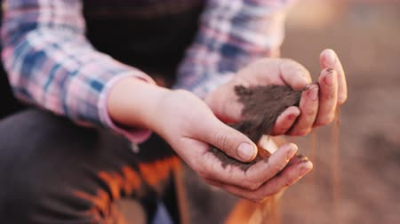 senioren : Young hands of a woman farmer hold black soil, the beginning of spring work in the field, organic farming