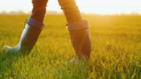buty : A farmer in rubber boots walks across a green field, only legs are visible in the frame