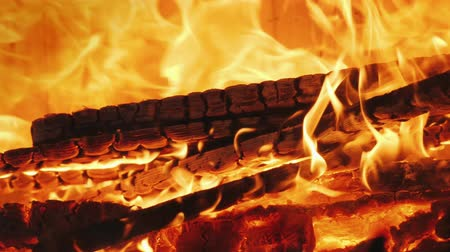 firebox : The fire burns in the fire chamber of the fireplace. Slow Motion Video