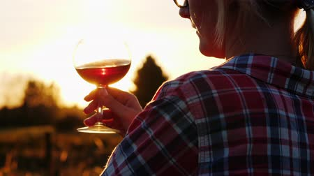 na zdraví : An unrecognizable woman is tasting red wine at sunset. Tourism and winemaking concept