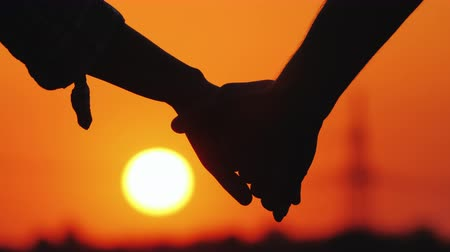 čelo : Young couple holding hands on the background of a large setting sun