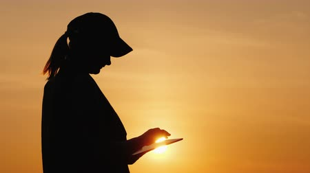 slaaf : Silhouette of a woman farmer working with a tablet at sunset Stockvideo