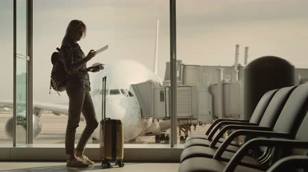 Silhouette of a woman with boarding documents standing at the terminal window. Outside the window a beautiful airliner