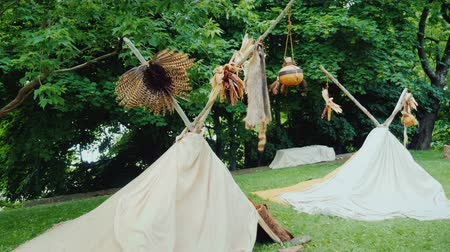 indios nativos : Two traditional Indians tents are wigwams. Camp in the forest Archivo de Video