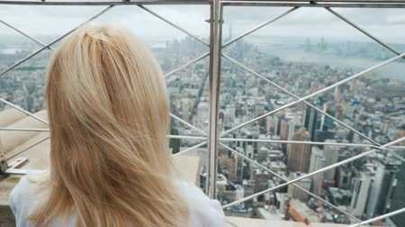 scherma : A woman looks through the bars on the panorama of New York. One in a big city concept Filmati Stock