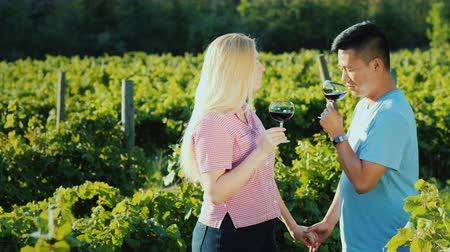 szőlőművelés : Multi-ethnic couple in love tasting wine in a vineyard, holding hands. Honeymoon and wine tour