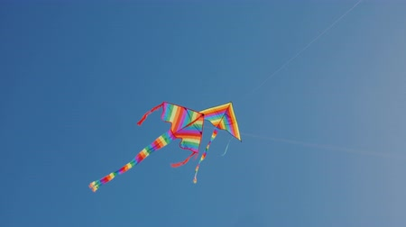 растягивается : Two kites soar nearby high in the sky. Synchronization and precise control concept Стоковые видеозаписи