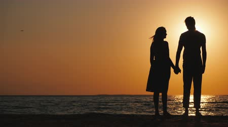 близость : Silhouettes of a young couple in love standing near the sea at sunset Стоковые видеозаписи