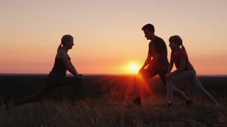 voorbeeld : Family with a child doing exercises together in a picturesque place at sunset Stockvideo