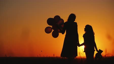 laurea : Mom and daughter are standing on a meadow at sunset. They are holding balls and a teddy bear. Inspiration concept Filmati Stock