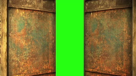 mese : animation - metal door opening to green screen Stock mozgókép