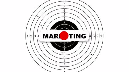 цель : animation - Shooting target with word marketing
