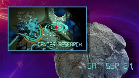 cancer cells : 3d animation of cancer cell and word CANCER RESEARCH writing on cancer image background Stock Footage