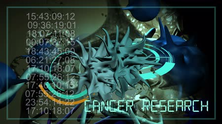 клетка : 3d animation of cancer cell and word CANCER RESEARCH writing on cancer image background Стоковые видеозаписи