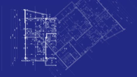 blueprint : abstract architecture background: blueprint house plan with sketch of city animated in background Stock Footage