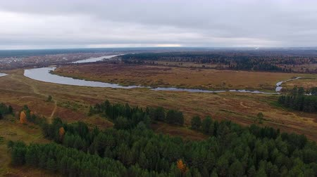 Flight Towards River. Video is from the drone, which flies in the autumn over the woods and swamp towards the river. Sad autumn landscape Stock Footage