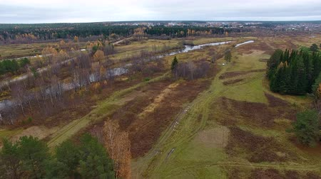 Camera Flies over Field in Autumn. Views of North nature from a height. Bottom field, forest, lake. In the distance is a small town