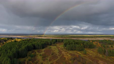 Camera Flies towards Rainbow. Drone with camera flying in autumn over field and forest to the river and the rainbow. Over the river rainbow