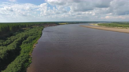Top View of Northern River in Summer. The camera flies over the big river in the summer. On the banks of the river grows coniferous forest.