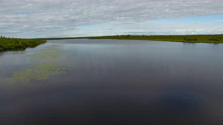 Flying over Surface of Lake. The quadcopter is flying low over the forest lake. The lake is located in Siberia, in the taiga and forest