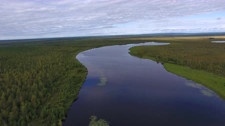 Long Lake in Northern Forest. Top view of the long lake in Siberia. Around the lake grows a forest