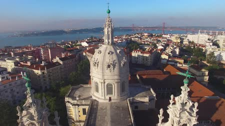 lisboa : main facade of the Estrela Basilica in Lisbon at morning aerial view