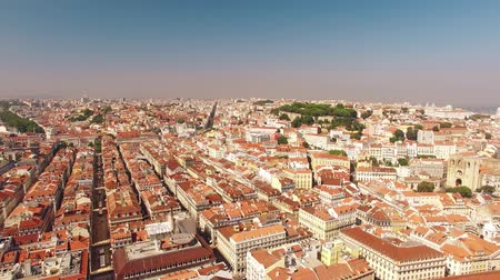 comercio : Panorama of Lisbon and the Castle Sao Jorge aerial view Stock Footage