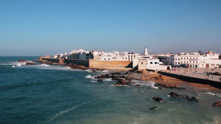 skala : View to Essaouira old city and ocean , Morocco