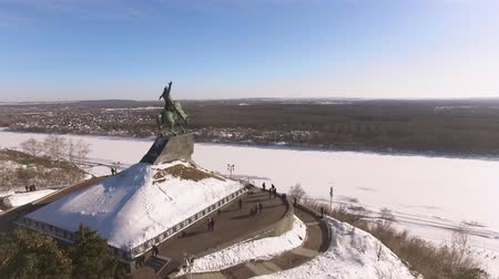 heroes square : Monument to Salavat Yulaev in Ufa at winter aerial view