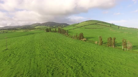 sao miguel : Aerial view of farm fields in the Sao Miguel Island in Azores, Portugal wide angle